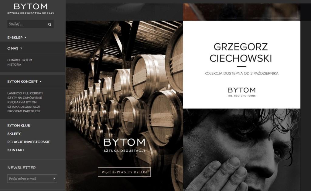 Fragment strony internetowej bytom.com.pl z materiałami promocyjnymi nowej kolekcji