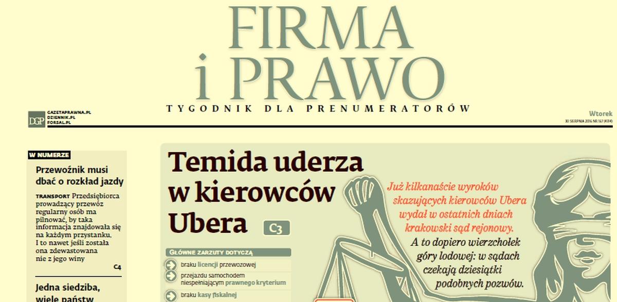 W Gazecie Prawnej o przyszłości Ubera w Polsce
